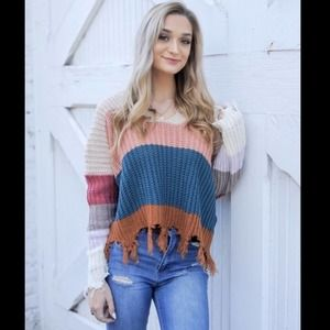 Miracle Color block Striped Distressed Sweater S/M